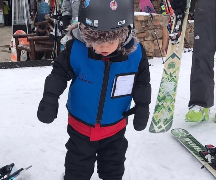 """Elsa Pataky, who shares three darling children with Aussie heartthrob Chris Hemsworth, has shared an adorable shot of their daughter India Rose learning how to ski. Bundled up from head-to-toe, Elsa said of the adorable 4-year-old, """"So proud of my little skier!"""" There's snow family cuter!"""