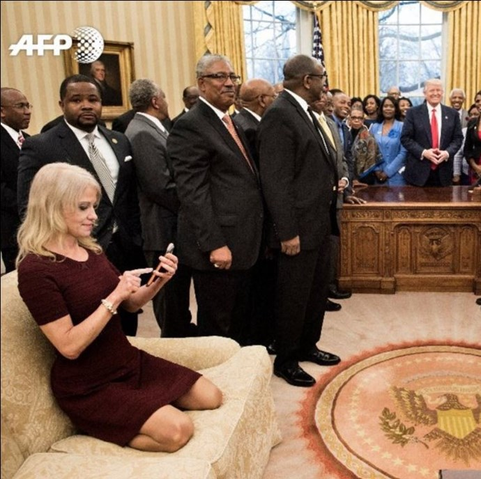 Mothers everywhere recoil in horror as Kellyanne Conway puts her shoes on the couch