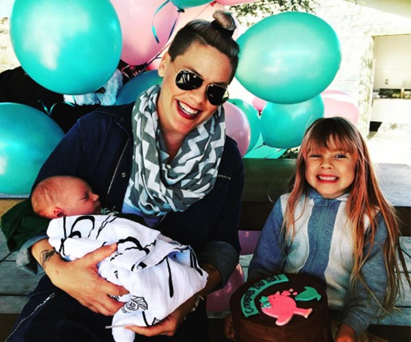 Pink with her two children.