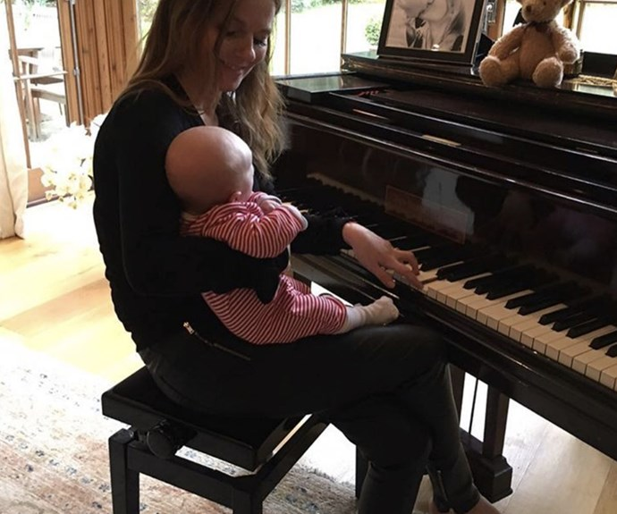 """Geri Halliwell, who welcomed her second child into the world in February, took to her Instagram page to share another sweet picture of the newest addition to her family, baby boy Monty. The former Spice Girl captioned the snap, """"Writing a song with Monty..."""""""