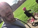 See the sweet moment Harper Beckham rides a bike all by herself!