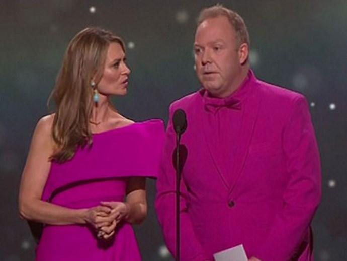 Peter Helliar and Kat Stewart mock the infamous #jacketgate