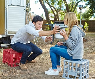 Finn (Rob Mills) and Xanthe (Lilly Van Der Meer) from Neighbours