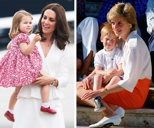 Royal hand-me-down! Princess Charlotte steps out in uncle Harry's shoes from 1986