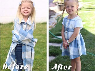 Mum transforms husband's old dress shirts into adorable outfits for her daughters