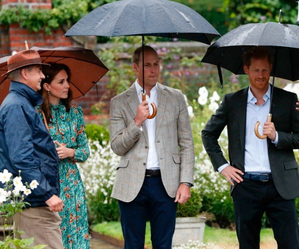 Sean Harkin who designed the tribute and Graham Dillamore who knew the princess when he worked on the grounds some 30 years ago accompanied the royals.