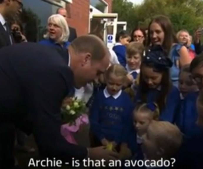 Prince William being gifted an avocado