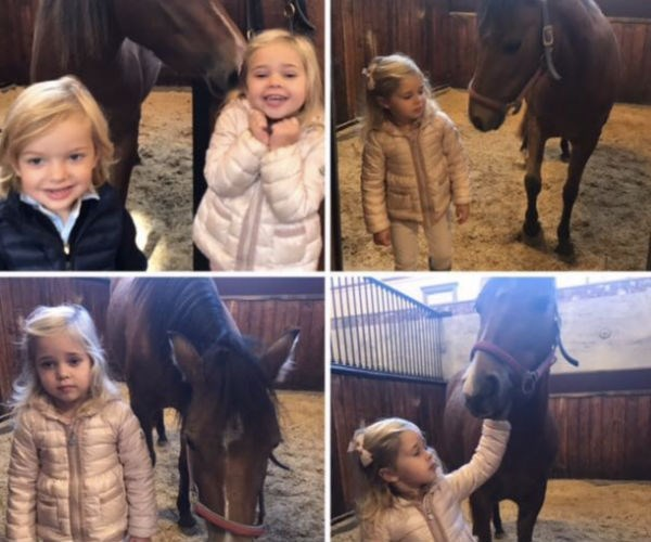 Too cute! Sweden's Princess Leonore, three, and Prince Nicolas, two, have paid a visit to the royal stables in Gotland, Sweden to visit with their horse. Haidi -- the horse! -- was a christening gift to the little princess.