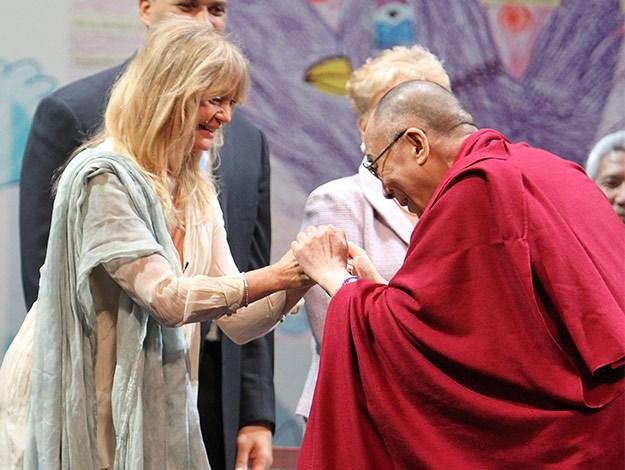 Goldie Hawn meets the Dalai Lama.