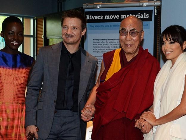 Actress Lupita Nyong'o, actor Jeremy Renner, His Holiness The 14th Dalai Lama and actress Eva Longoria in California.