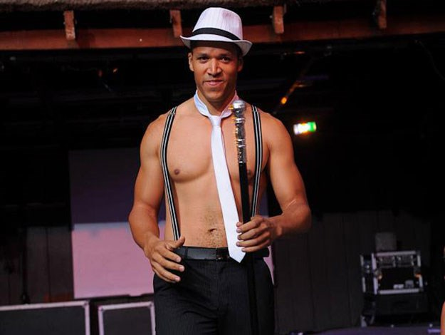 """Blake was seen here stripping off as an entrant in """"Perth's hottest bartender"""" competition in 2011."""