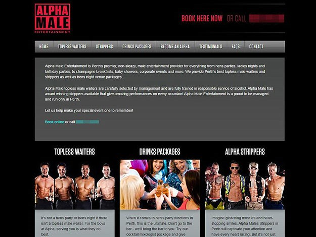 """Blake has been revealed as the owner of male stripper service Alpha Male Entertainment - """"Perth's premier male entertainment provider...for everything from hens parties to ladies nights and birthday parties""""."""