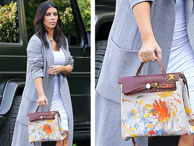 chinese replica handbags - Kim Kardashian steps out with Hermes bag hand painted by North ...