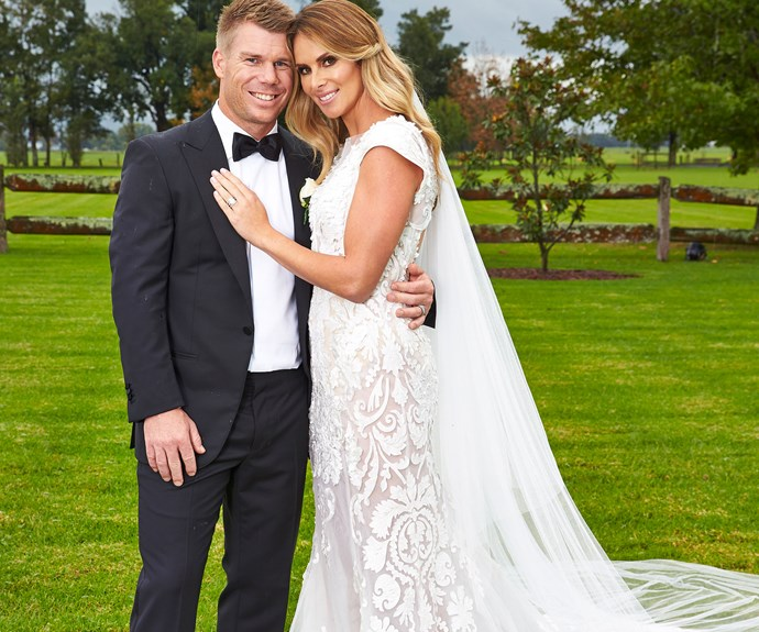 David Warner and Candice Falzon