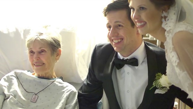 Bride surprises her grandmother in hospital