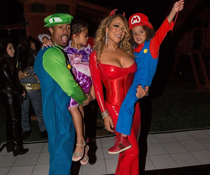 Mariah was joined by her ex Nick for her Halloween bash this week but James was nowhere to be seen...