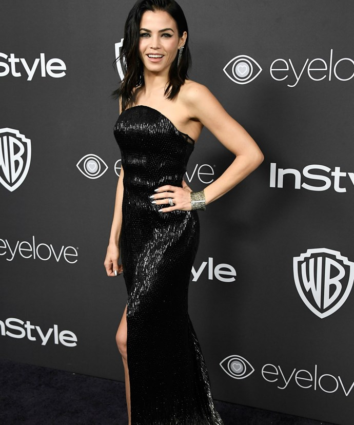The 36-year-old actress chose to wear a strapless black gown by Julien MacDonald to the Golden Globes after party.