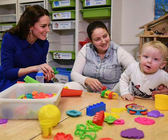 "Here Kate can be seen partaking in one of the centre's ""theraplay"" sessions."