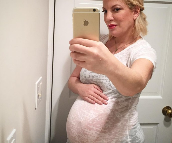 """Ready. To. Pop! Tori Spelling, 40, has taken to Instagram to share a precious 'bumpie' - just six weeks out from baby number five's due date. Tori captioned the gorgeous photo, """"Can't wait to meet you little man… my little Pisces,"""" including the hashtags, """"#6weekstogo #littleman #number5."""""""