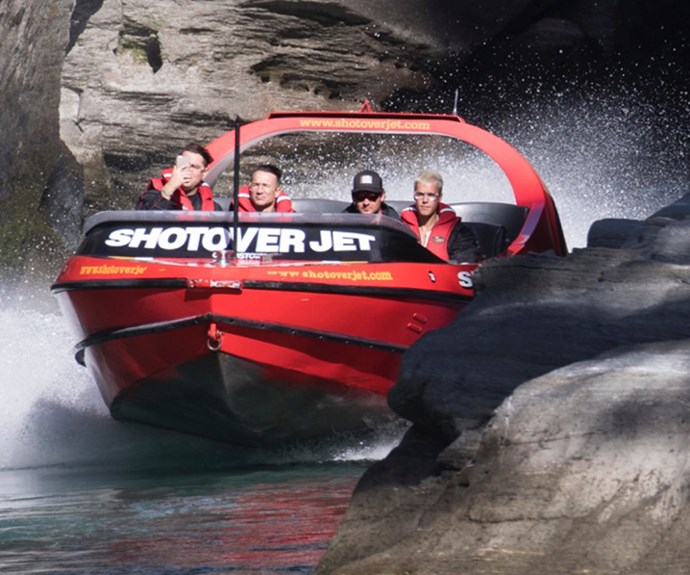 Justin Bieber was pictured on the Shotover Jet with pals in Queenstown.