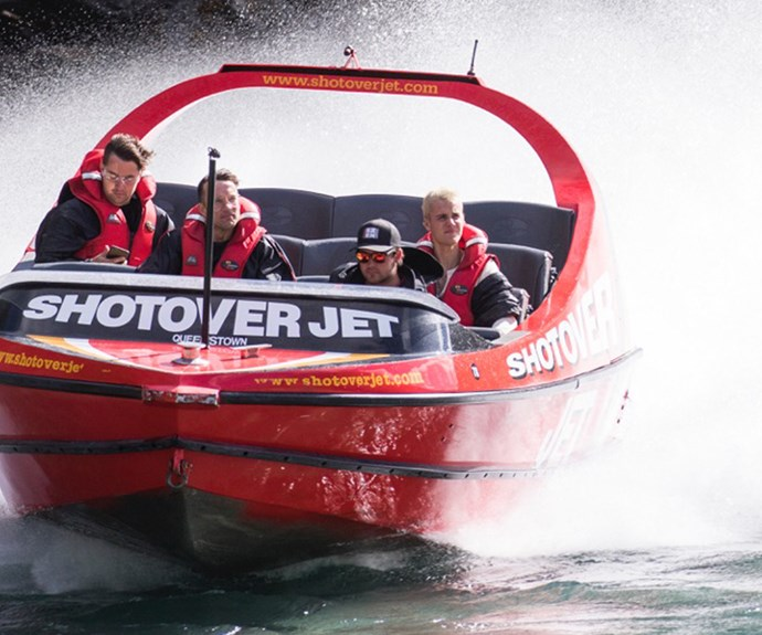 The 23-year-old could be seen taking in the picturesque scenery from the Shotover Jet.
