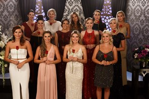 Bachelorettes share a kiss at the rose ceremony