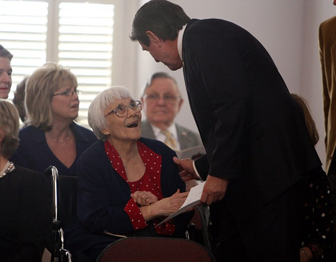 Harper Lee and Alabama Governor Bob Riley attend the 2009 Alabama Academy of Honor Inductions at the Old House Chambers on October 19, 2009 in Montgomery, Alabama.