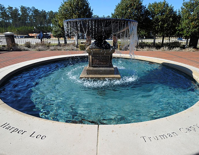 The names of Alabama natives Harper Lee and Truman Capote are seen on the Monroeville Writers Fountain.