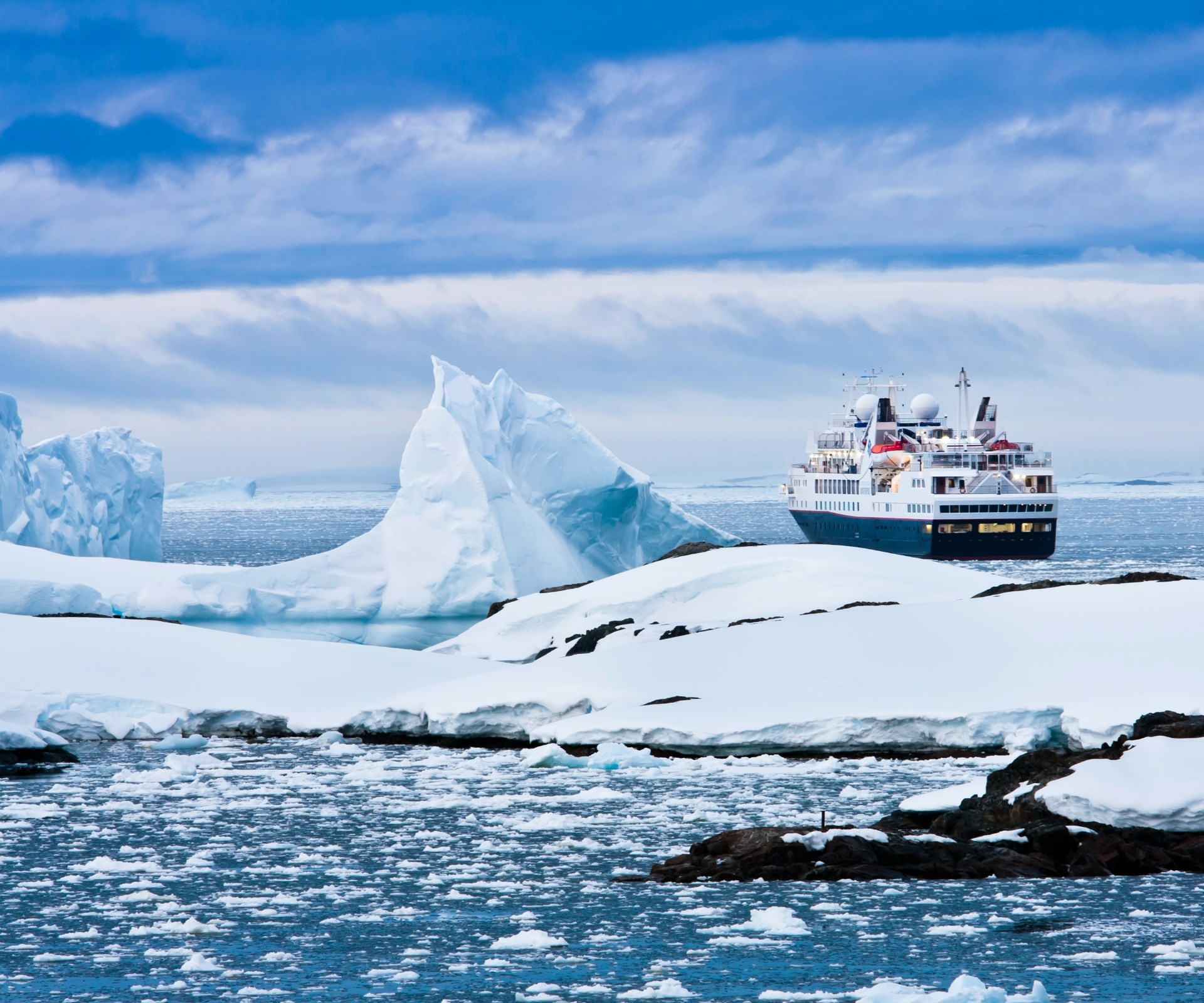 **Antarctica** This remote destination is the ultimate in cruising – starting with the daunting crossing of Drake Passage. The reward is a pristine continent of snow-capped mountains, glaciers and drifting icebergs inhabited by whales, seals and astounding colonies of penguins. The Falkland and South Georgia islands are dense in seabirds. *Recommended: [The Ultimate Antarctic Adventure](https://www.scenic.com.au/tour/the-ultimate-antarctic-adventure/2546) by [cruises.com.au](http://www.cruises.com.au/).*: [object Object]
