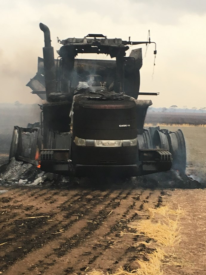 An incinerated header on Luke and Judy McCabe's farm.