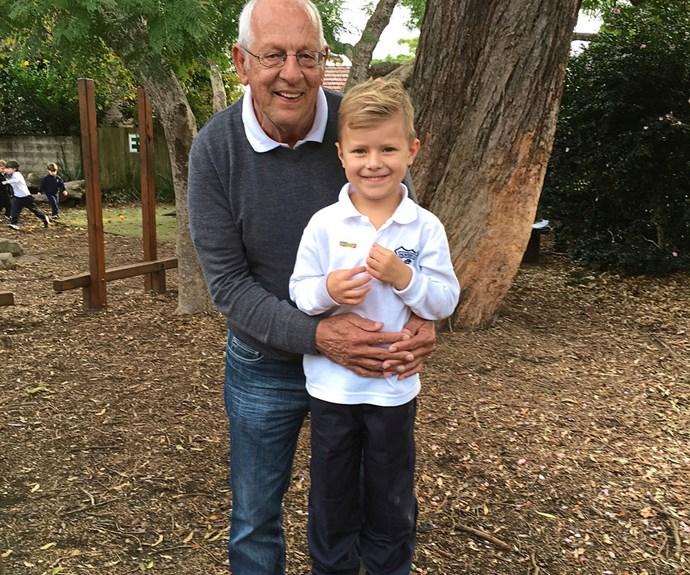 Tony van der Laak hugs his five-year-old grandson Flynn Beck.