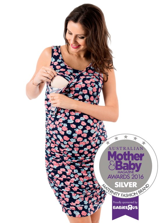 """*Queen Bee Maternity Trimester Dress* A gorgeous floral dress to take you through pregnancy, this versatile number can also be worn during nursing. Just unclip the snap buttons to breastfeed discreetly. The [Queen Bee Maternity Trimester Dress](https://www.queenbee.com.au/Product-trimester-camilla-nursing-tank-dress-4863.aspx/