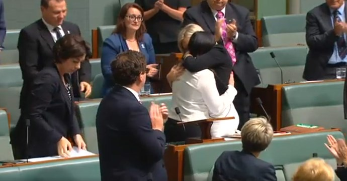 After her speech Ms Husar received a standing ovation and was hugged by her Labor colleagues.