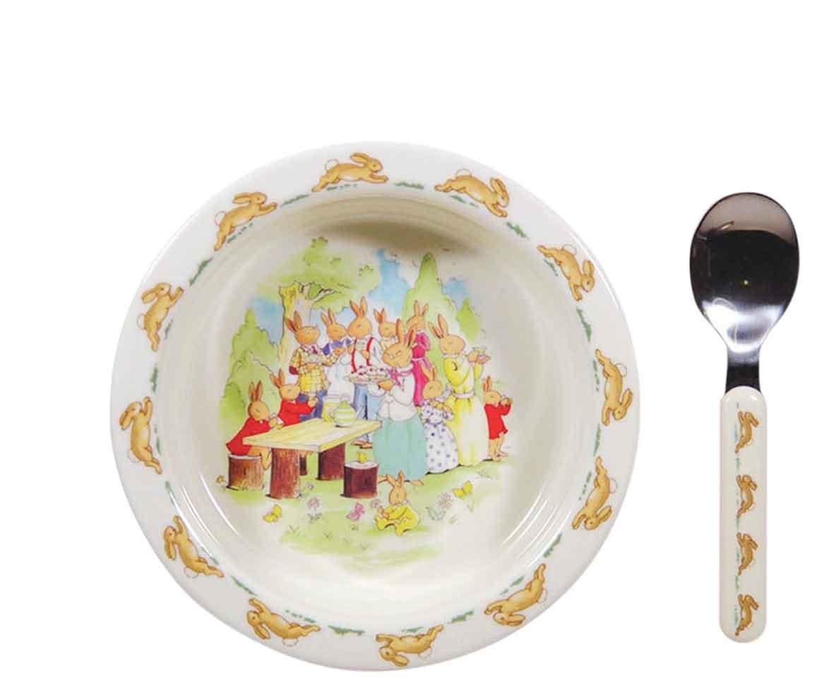 "[Bunnykins](http://www.thomasjewellers.com.au/royal-doulton-bunnykins-feeding-bowl-ttm35|target=""_blank"") feeding bowl and spoon, $19.95."