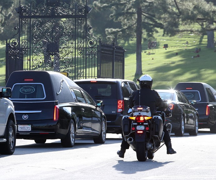 A final farewell: The mother-daughter duo were laid to rest next to each other at the Forest Lawn Memorial Park in Los Angeles.
