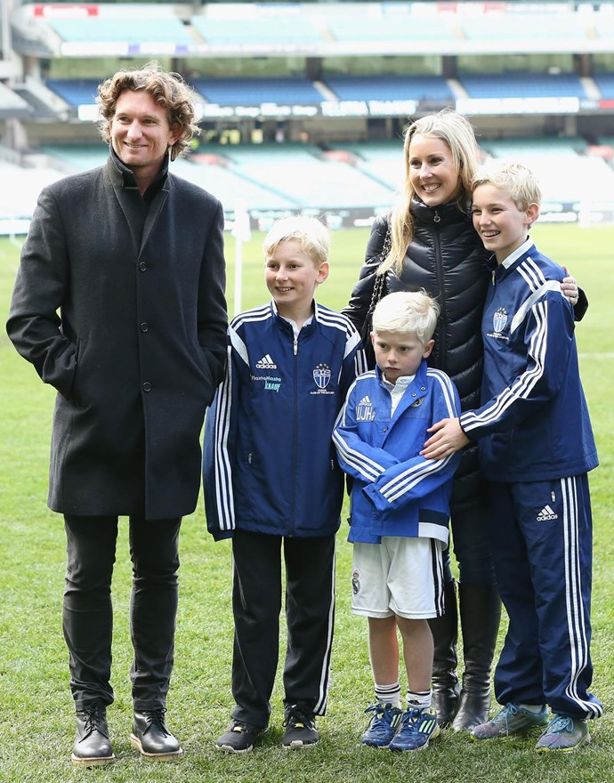 James with wife Tania and their three children.