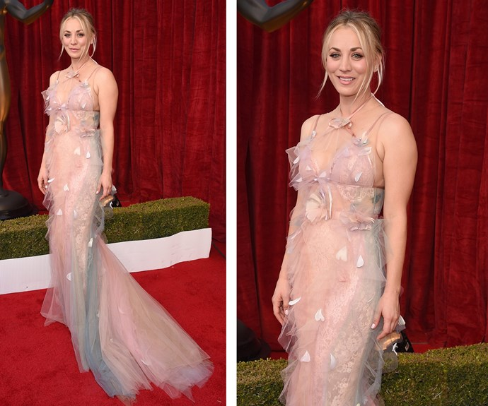 *The Big Bang Theory* star Kaley Cuoco looks elegant in a pale pink gown. Her show is up for the Outstanding Performance by an Ensemble in a Comedy Series award.