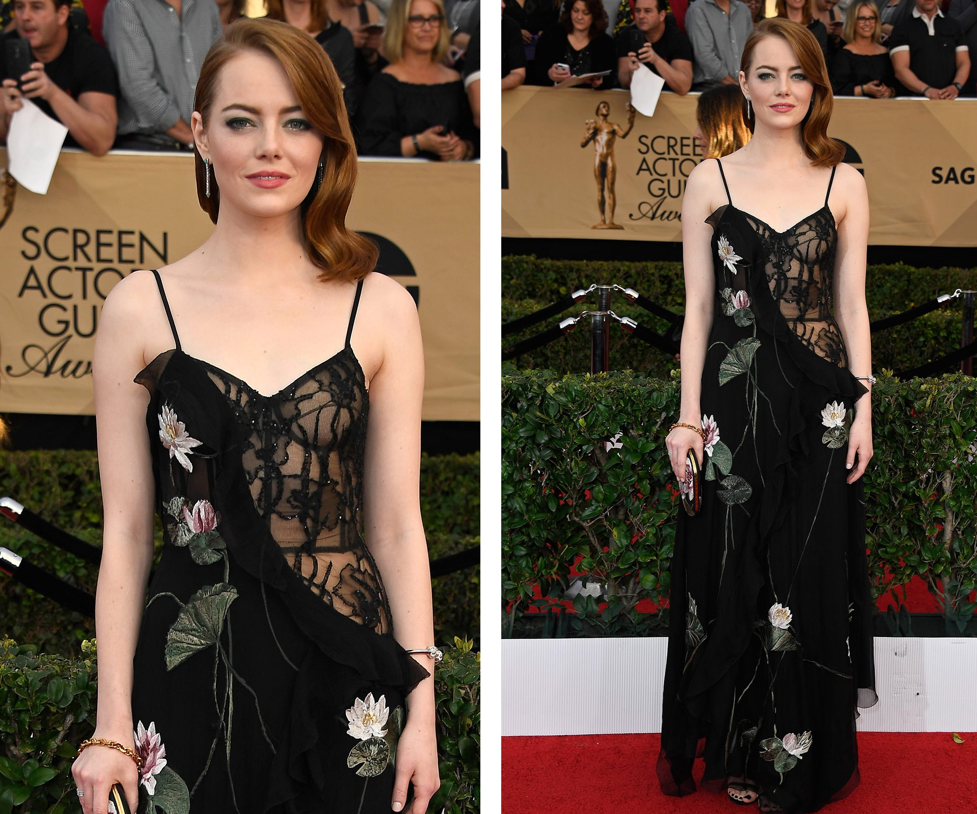 Emma Stone chose a classic black dress for her SAG red carpet appearance.