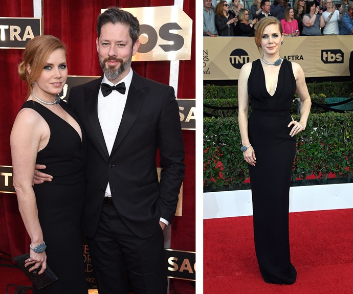 Amy Adams is going head to head with Emma Stone for the awards this year, but her classic black dress and sculptural jewellery makes a strong case for the win!