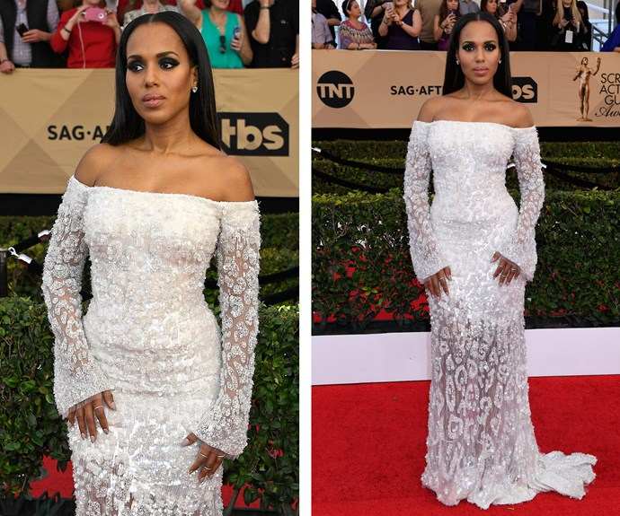 Nominee Kerry Washington's white, patterned dress is a glamorous choice.