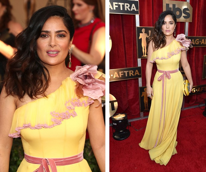 Salma Hayek is a ray of golden sunshine on the red carpet.