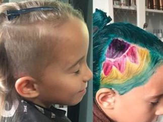 Little girl has unicorn hair style.