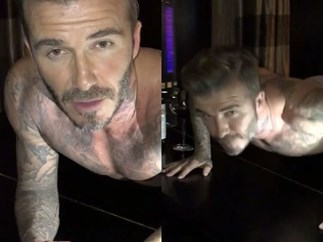 WATCH: David Beckham does half-naked push-ups on a piano for charity