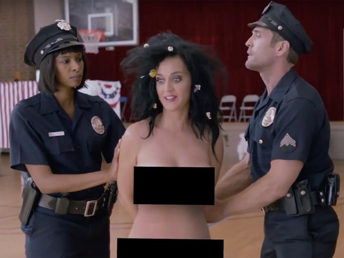 Katy Perry gets naked in Funny Or Die political video.