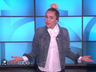 Miley Cyrus fills in for Ellen DeGeneres, makes joke about illicit drugs within two minutes