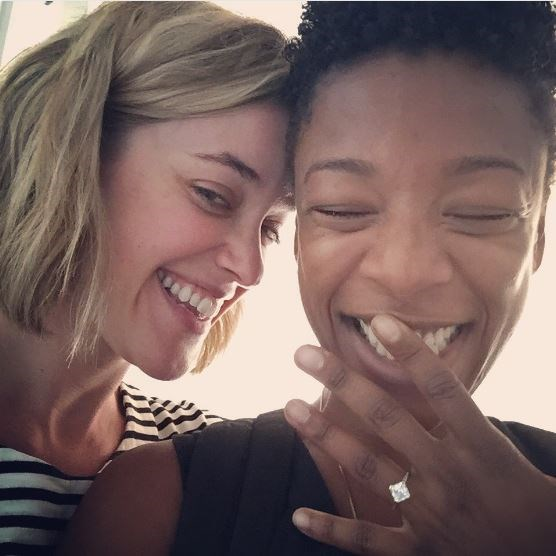 It's your girl Poussey Washington! #RIP. Actress Samira Wiley took to Twitter to announce her engagement to OITNB writer, Lauren Morelli and we're *dying* from all the cuteness. Apart from looking like the happiest couple in the frekkin' *world*, can we all just take a minute to admire how incred Wiley's new princess cut bling is? Yep, these two = PERFECTION.