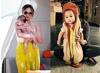 Chrissy Teigen dressed baby Luna up as a peacock and a hot dog and we cannot deal