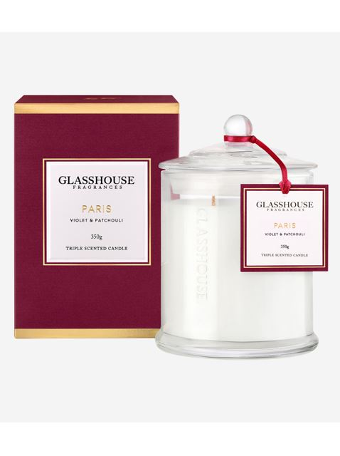 This pretty candle is next best thing to an ~actual~ trip to Paris. *[Glasshouse Paris Violet & Patchouli Candle, $42.95](http://www.glasshousefragrances.com/candles/350g/paris-violet-patchouli).*