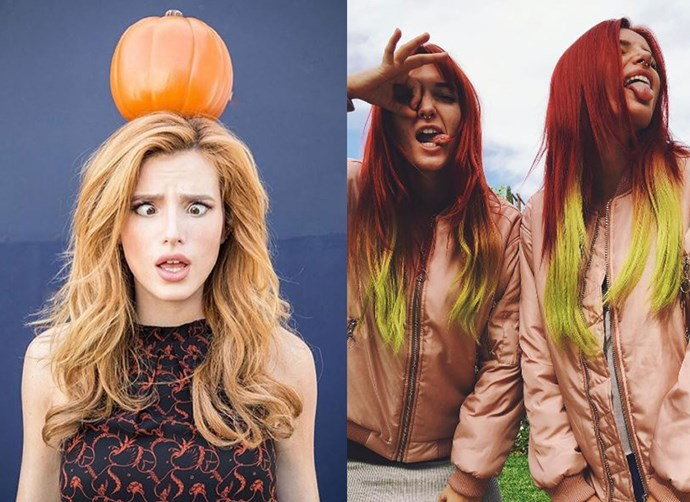 So, Bella Thorne went and got a makeover. The 19-year-old actress decided to trade her chesnut-y brown hair for something a LOT bolder. She went with a contrast of bright red and yellow. Safe to say, Bella can pull of anything.