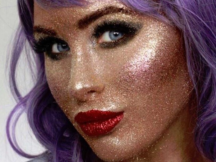 Girl does a full face of makeup with glitter only